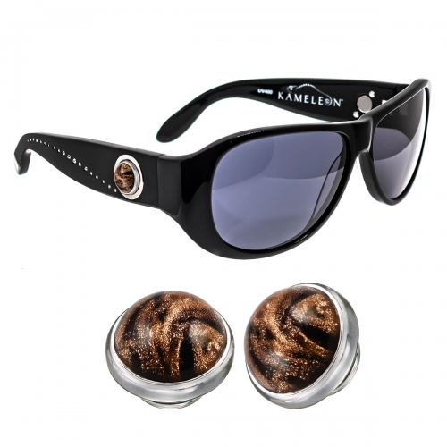 Kameleon Marbled Onyx Murano Glass 925 Charm & Black Sunglasses Set
