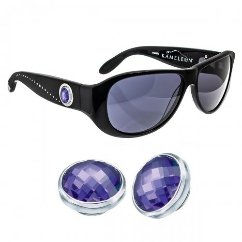 Kameleon African Violet CZ 925 Charm & Black Sunglasses Set