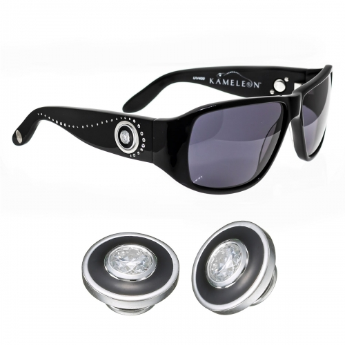 Kameleon Ebony Halo Enamel & CZ 925 Charm & Black Sunglasses Set