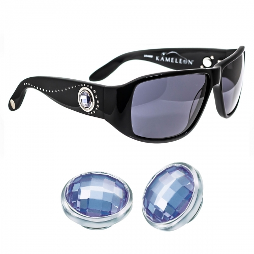 Kameleon Purple Haze Lavender CZ 925 Charm & Black Sunglasses Set