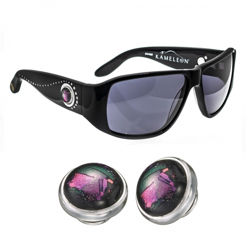 Kameleon Purple Pink Flash Dichroic Glass 925 Charm & Black Sunglasses Set