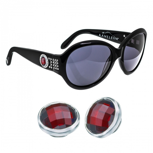 Kameleon Beaujolais Garnet CZ 925 Charm & Black Sunglasses Set