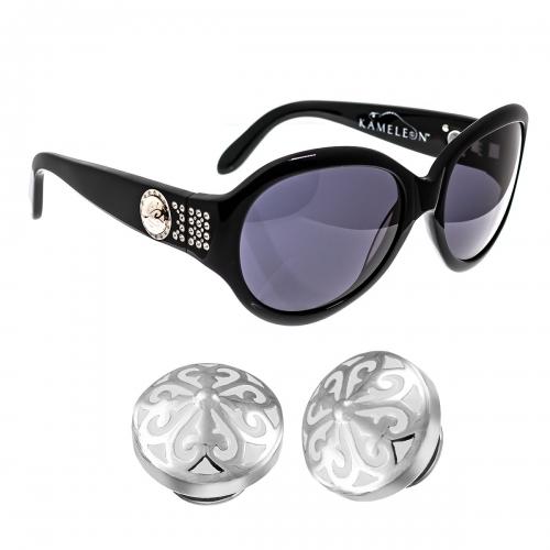 Kameleon Ivory Minaret Silver & Enamel Charm & Black Sunglasses Set