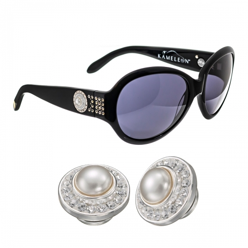 Kameleon White Swarovski Pearl & Swarovski Crystals Charm & Black Sunglasses Set