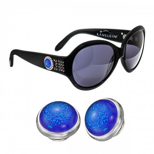 Kameleon Aqua Fizz Dichroic Glass Charm & Black Sunglasses Set
