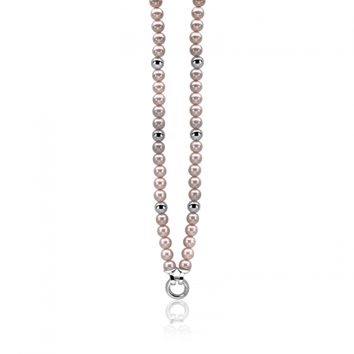 EX-Display Zinzi Rose Pearl and Silver Bead 43cm Necklace ZIC402R