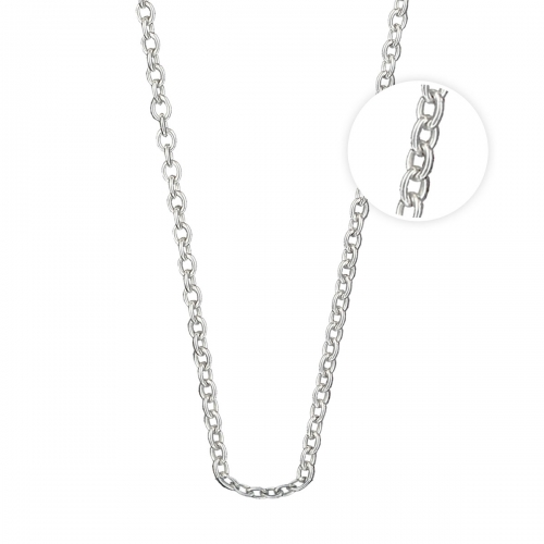 KAMELEON JewelPop 18 Inch Rolo Oval Silver Necklace ROLO050