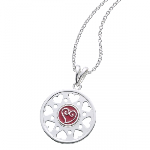 KAMELEON JewelPop Round with 8 Open Hearts Silver Pendant KP76