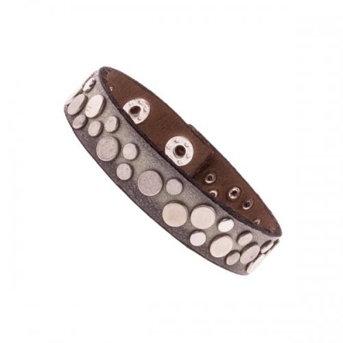 Vanzetti Light Grey 13mm Leather Rivet Bracelet