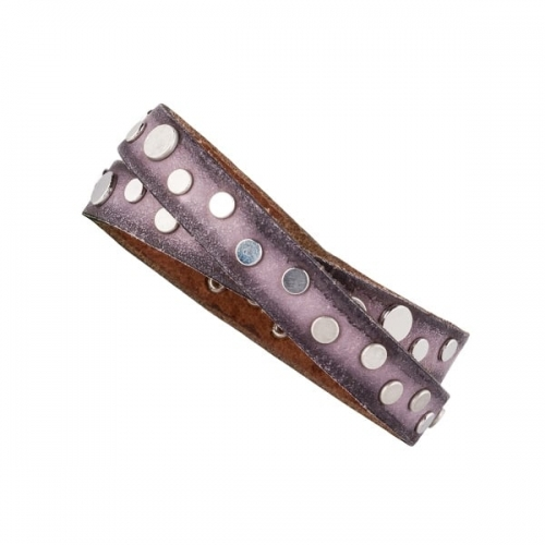 Vanzetti Dark Pastel Leather Double Wrap Bracelet with Silver Rivet Detail
