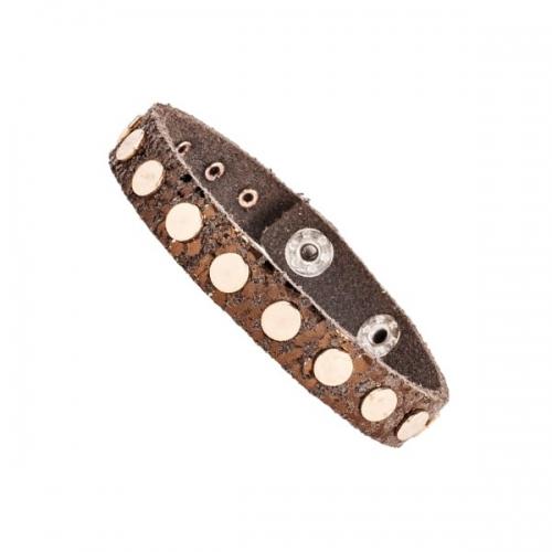 Vanzetti Brown Snake Effect 13mm Leather Rivet Bracelet
