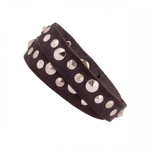 Vanzetti Dark Brown Leather Double Wrap Bracelet with Silver Rivet Detail