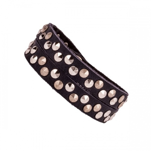 Vanzetti Navy 10mm Leather Bracelet with Silver Rivet Detailing