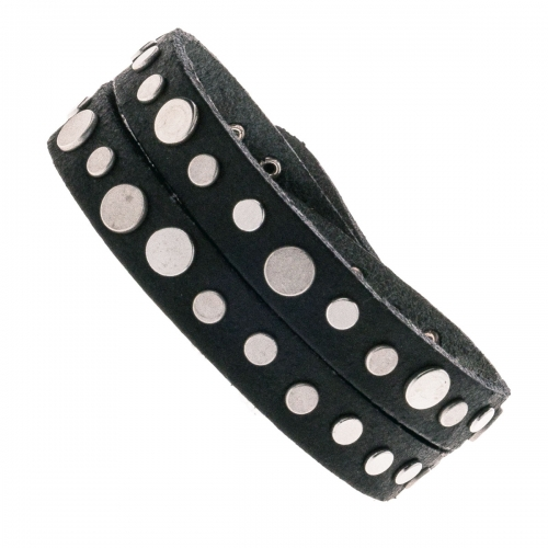 Vanzetti Black Leather Double Wrap Silver Rivet Bracelet