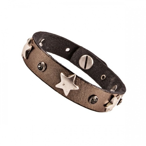 Vanzetti Silver Grey Metallic Leather Bracelet with Star Studs
