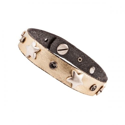Vanzetti Gold Metallic Leather Bracelet With Star Studs
