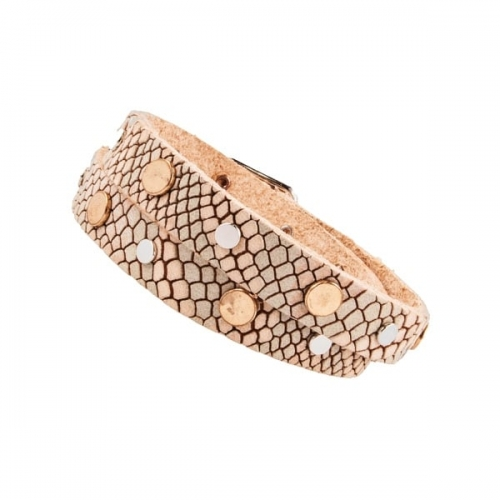 Vanzetti Vanilla Snake Skin Effect Leather Studded Double Wrap Bracelet