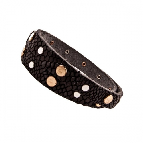 Vanzetti Black Snake Skin Effect Leather Studded Double Wrap Bracelet
