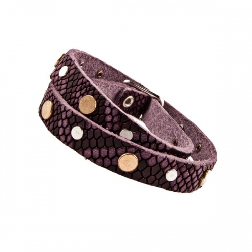Vanzetti Purple Snake Skin Effect Leather Studded Double Wrap Bracelet