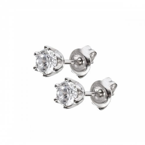 Claudine Silver CZ Stud Earrings