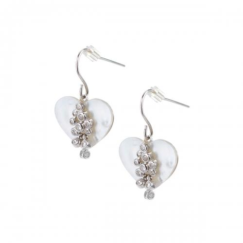 Claudine Silver Heart Shell Earrings
