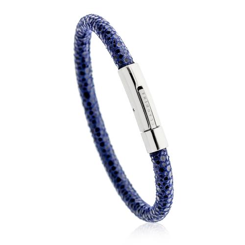 Claudine Blue Reptile Leather Bracelet