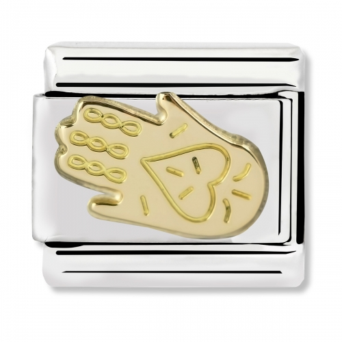 Nomination Classic Hand of Fatima Steel and 18k Gold Link Charm