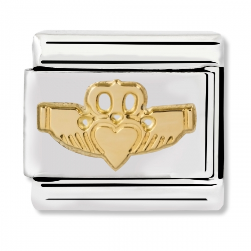 Nomination Classic Claddagh Steel and 18k Gold Link Charm