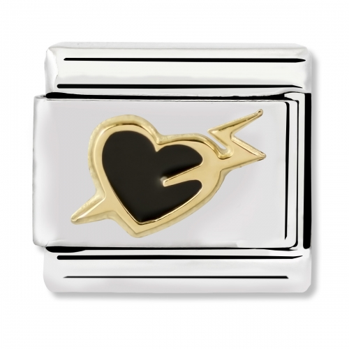 Nomination Classic Black Heart with Bolt Steel, Enamel and 18k Gold Link Charm