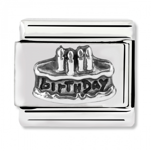 Nomination Classic Birthday Cake Steel and 925 Silver Link Charm