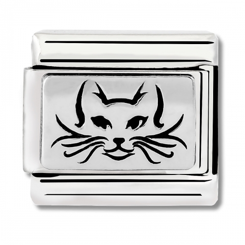 Nomination Classic Cat Steel, Enamel and 925 Silver Link Charm
