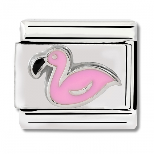 Nomination Classic Flamingo Steel, Enamel and 925 Silver Link Charm