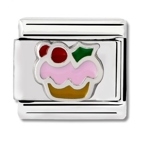 Nomination Classic Cupcake Steel, Enamel and 925 Silver Link Charm