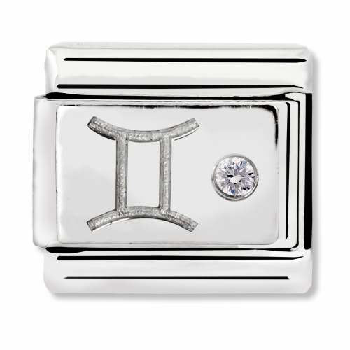 Nomination Classic Gemini Zodiac Steel, CZ and 925 Silver Link Charm