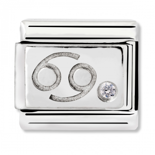 Nomination Classic Cancer Zodiac Steel, CZ and 925 Silver Link Charm