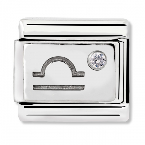 Nomination Classic Libra Zodiac Steel, CZ and 925 Silver Link Charm