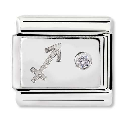 Nomination Classic Sagittarius Zodiac Steel, CZ and 925 Silver Link Charm