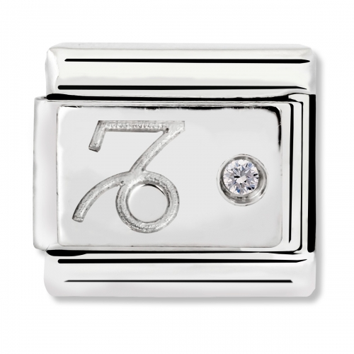 Nomination Classic Capricorn Zodiac Steel, CZ and 925 Silver Link Charm