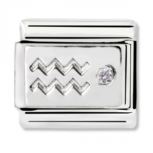 Nomination Classic Aquarius Zodiac Steel, CZ and 925 Silver Link Charm