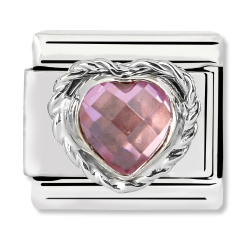 Nomination Classic Heart-Shaped Faceted Pink Stone Steel, CZ and 925 Silver Link Charm