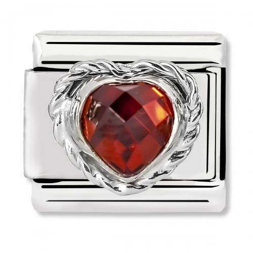 Nomination Classic Heart-Shaped Faceted Red Stone Steel, CZ and 925 Silver Link Charm