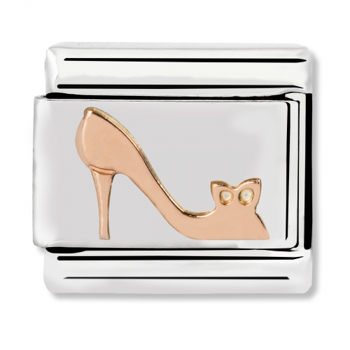 Nomination Classic High Heel Shoe Steel and 9k Rose Gold Link Charm
