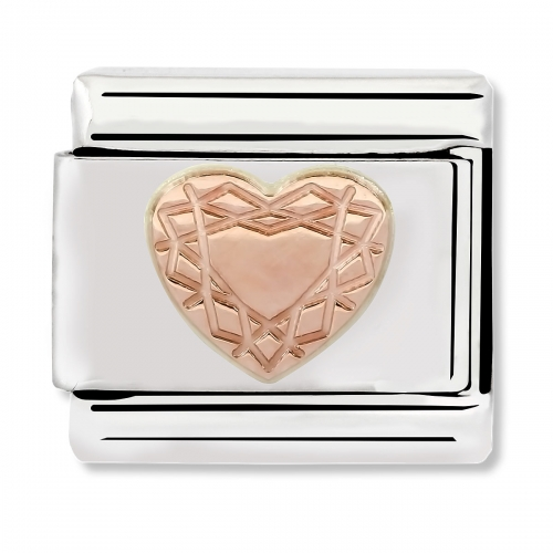 Nomination Classic Carved Heart Steel and 9k Rose Gold Link Charm