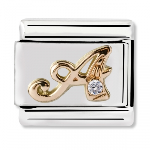 Nomination Classic Letter A Steel, CZ and 9k Rose Gold Link Charm