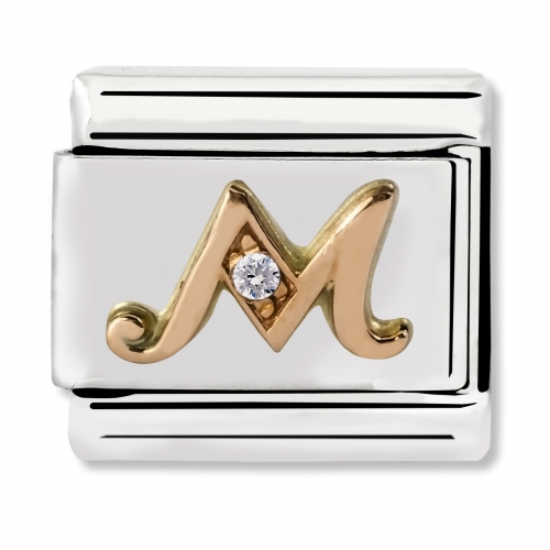 Nomination Classic Letter M Steel, CZ and 9k Rose Gold Link Charm