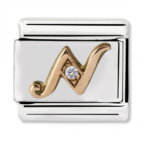Nomination Classic Letter N Steel, CZ and 9k Rose Gold Link Charm