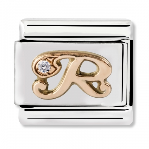 Nomination Classic Letter R Steel, CZ and 9k Rose Gold Link Charm