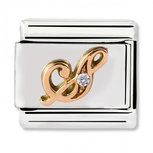 Nomination Classic Letter S Steel, CZ and 9k Rose Gold Link Charm