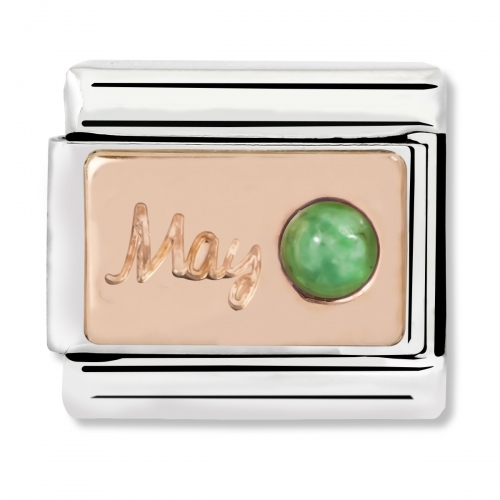 Nomination Classic May Birthstone Steel, Emerald and 9k Rose Gold Link Charm