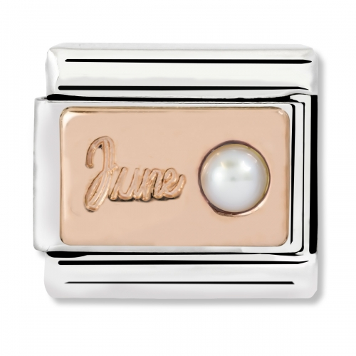 Nomination Classic June Birthstone Steel, White Pearl and 9k Rose Gold Link Charm
